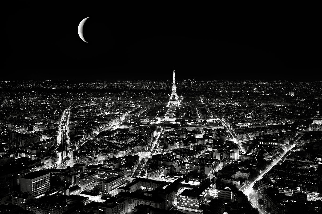 Moom rise over Eiffel tower from Montparnasse tower